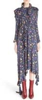 Vetements High Neck Frilled Floral Print Dress