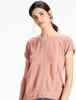 Lucky Brand Embroidered Woven Mix Tee