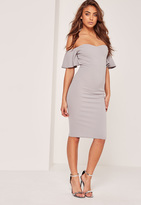Missguided Petite Bardot Bodycon Midi Dress Grey