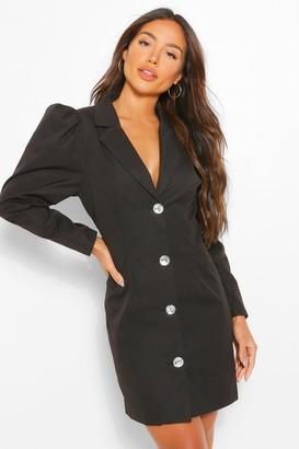 boohoo Woven Diamante Puff Sleeve Blazer Dress