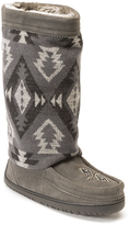 Manitobah Mukluks Charcoal Geometric Suede-Wool Moccasin Boot