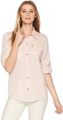 Lark & Ro Amazon Brand Women's Utility Shirt with Roll-Up Sleeves