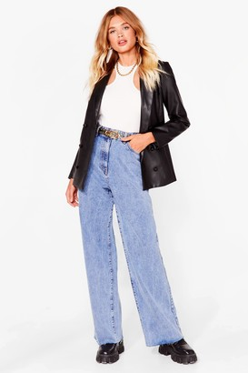 Nasty Gal Womens Washing Over You Wide-Leg Jeans - Blue - 14