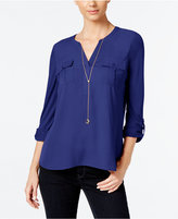 INC International Concepts Petite Mixed-Media Utility Blouse, Only at Macy's