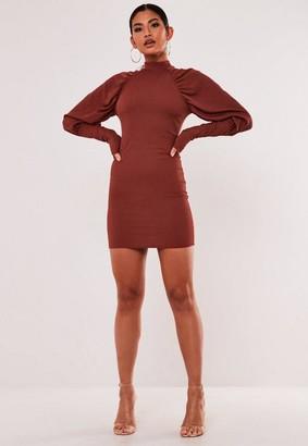 Missguided Recycled Rust Rib Puff Sleeve Mini Dress