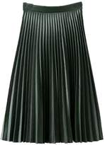 MorySong Women Retro High Waist Basic PU Leather Pleated A Line Midi Skirt M