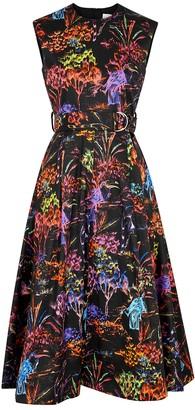 MSGM Black Printed Cotton Dress