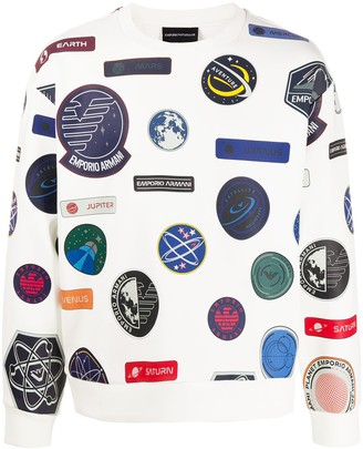 Emporio Armani Space Badge Print Sweatshirt