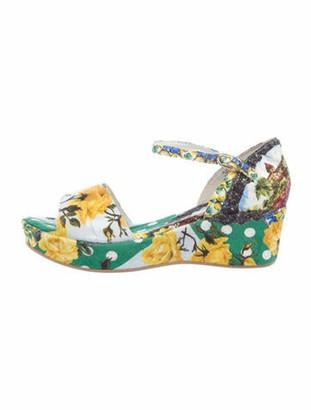 Dolce & Gabbana Floral Print Sandals w/ Tags Green