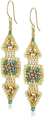 Miguel Ases Green Quartz and Swarovski Triangle and Square Small Link Drop Earrings