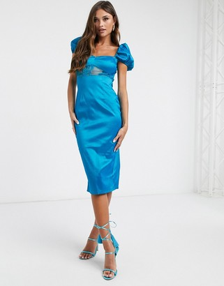 NaaNaa satin midi dress with lace detail in teal