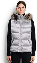Lands' End Women's Petite Hooded Down Vest-Light Silver Metallic