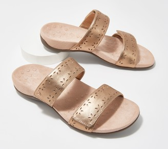 Vionic Leather Perforated Slide Sandals - Randi