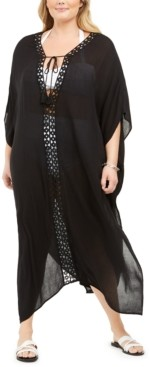 Raviya Plus Size Crochet-Trimmed Cover-Up Maxi Dress Women's Swimsuit