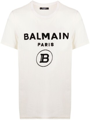 Balmain flocked-logo T-shirt