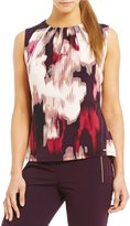 Calvin Klein Watercolor Floral Print Matte Jersey Pleat Neck Shell