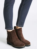 Marks and Spencer Wide Fit Suede Side Zip Fur Ankle Boots