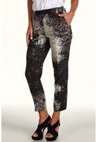 Halston Cropped Pant in Monet Cloud Print (Charcoal) - Apparel