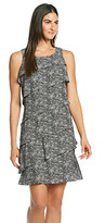 Jessica Howard Sleeveless Printed Diagonal Tiered Dress