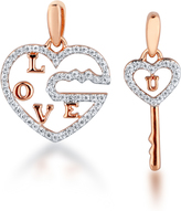 Ice 1/3 CT TW Diamond Rose Gold-Plated Sterling Silver Heart and Key 2-Piece Necklace