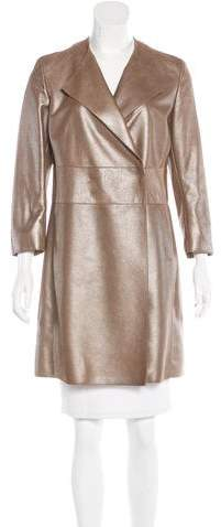 Akris Leather Metallic Coat