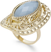 INC International Concepts Gold-Tone Blue Stone Openwork Statement Ring, Only at Macy's