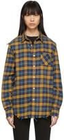 R 13 Blue and Yellow Plaid Shredded Seam Shirt