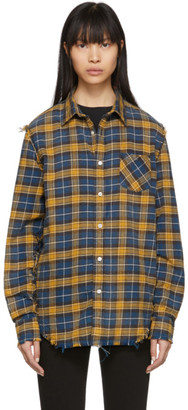 R 13 Blue and Yellow Plaid Shredded Seam Shirt