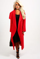 Pink Boutique Natural Flirt Red Wool Belted Wrap Coat