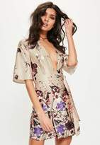 Missguided Nude Silky Floral Print Shift Dress