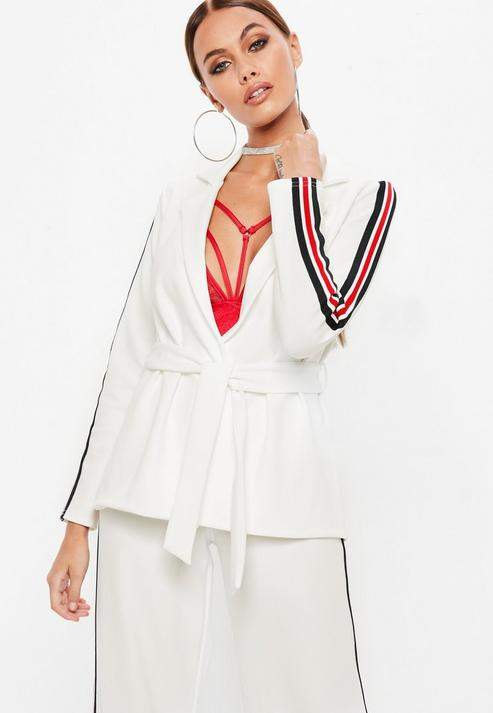 Missguided White Side Stripe Tie Waist Blazer, White
