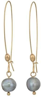 Robert Lee Morris Pearl Long Drop Earrings (Grey) Earring
