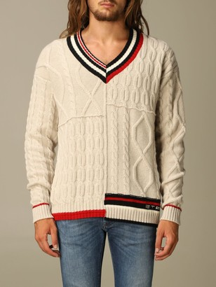 Etro Sweater In Woven Wool With Striped Edges