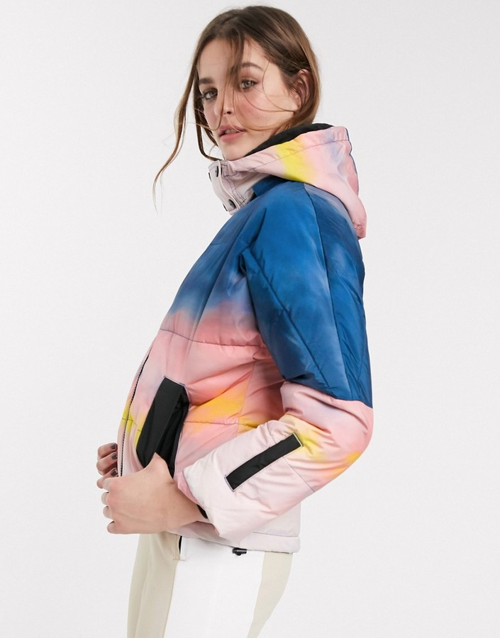 Topshop SNO printed ski jacket in multi