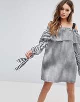 boohoo Tie Sleeve Gingham Smock Dress