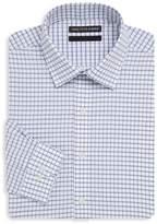 Saks Fifth Avenue BLACK Men's Windowpane Cotton Dress Shirt - Blue-white, Size 16 34