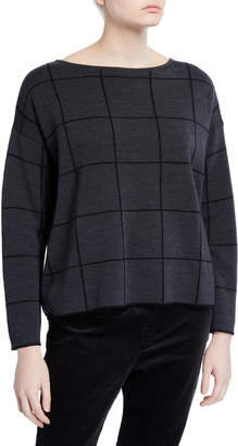 Eileen Fisher Petite Windowpane Merino Wool Bateau-Neck Sweater