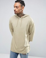 Asos Oversized T-Shirt With 3/4 Sleeve And Hood