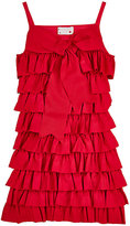 Lanvin TIERED RUFFLE DRESS-RED, ORANGE SIZE 10