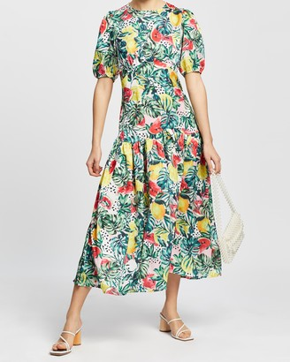 NEVER FULLY DRESSED Melon Print Lucia Dress