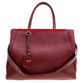 Fendi 2Jours Burgundy Leather Handbags