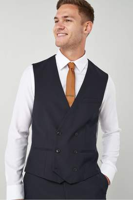 Next Mens Suit: Double Breasted Waistcoat Blue 32R