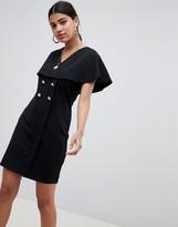Asos Design DESIGN mini swing dress with button detail
