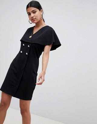 Asos DESIGN mini swing dress with button detail