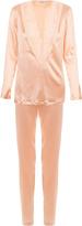 Azalea Peach pajamas in silk satin and Leavers lace
