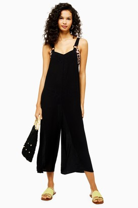 We Are We Wear Womens Black Tortoiseshell Ring Jumpsuit - Black