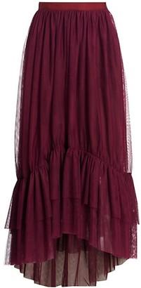 Cinq à Sept Cheryl Asymmetric Tulle Flounce-Hem Midi Skirt