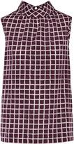 Oscar de la Renta Printed stretch-silk top