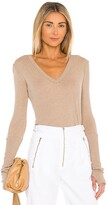 Enza Costa Cashmere Cuffed V Neck Long Sleeve Tee