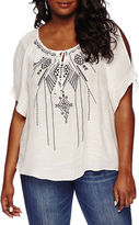 Byer California by&by Cold-Shoulder Embroidered Peasant Blouse - Plus